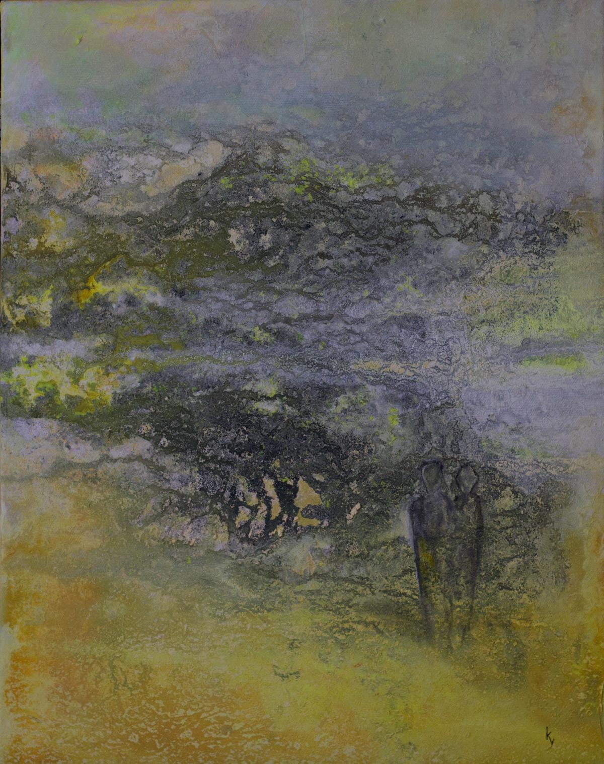 to mennesker ved gamle oliventræer